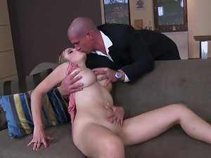 Lewd tempting blonde with large all natural saggy knockers sits on a pecker