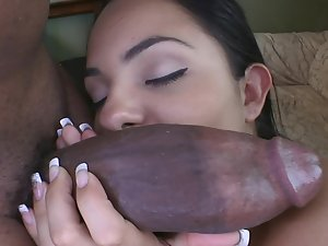Monster phallus stretching that whorish Latina twat broad open