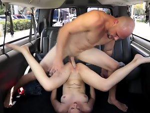 Bombshell with little tiny breasts getting banged in public in the back of a van