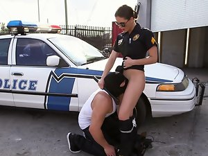 Large dude is pushing his penis into a sensual cop with large hooters