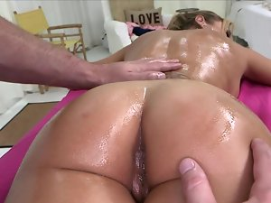 Big dirty ass light-haired is massaged by some strong hands and is then banged