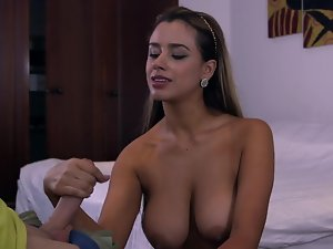 Latina maid strokes a pecker after she is done cleaning the room