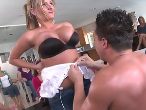 Sexual bachelorette and her friends stroking peckers at the party