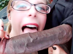 Nerdy light-haired always wanted to suck a big, ebony shaft