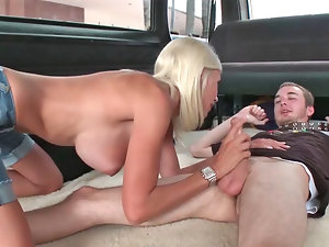 Buxom light-haired is giving enjoyment to a gaunt chap