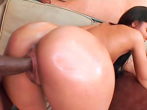 Very hairy dark haired Sabrina rides a enormous ebony pecker wildly