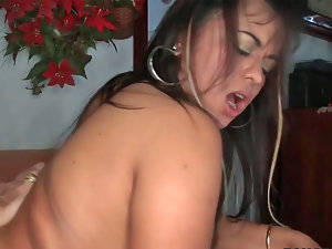 Heavy slutty girl Cherry gets her narrow naughty ass and snatch ripped apart