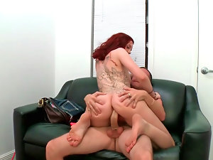 Ginger Maxx licking shaft and getting grinded in her vagina