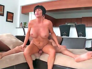 Impeccable top heavy Mommy gets her perfect cunt drilled brutal