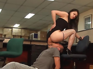 Teen has pussy fucked by colleague at the start of business