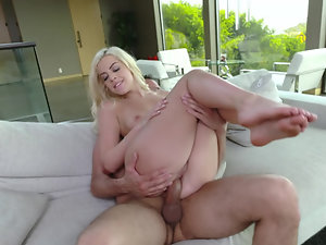 Blonde cooze is having a time of her life while riding his cock
