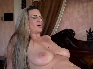 Stunning mature woman sucks young cock and gets humped