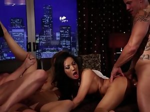 Two sexy girls are having fun with two eager men in the video